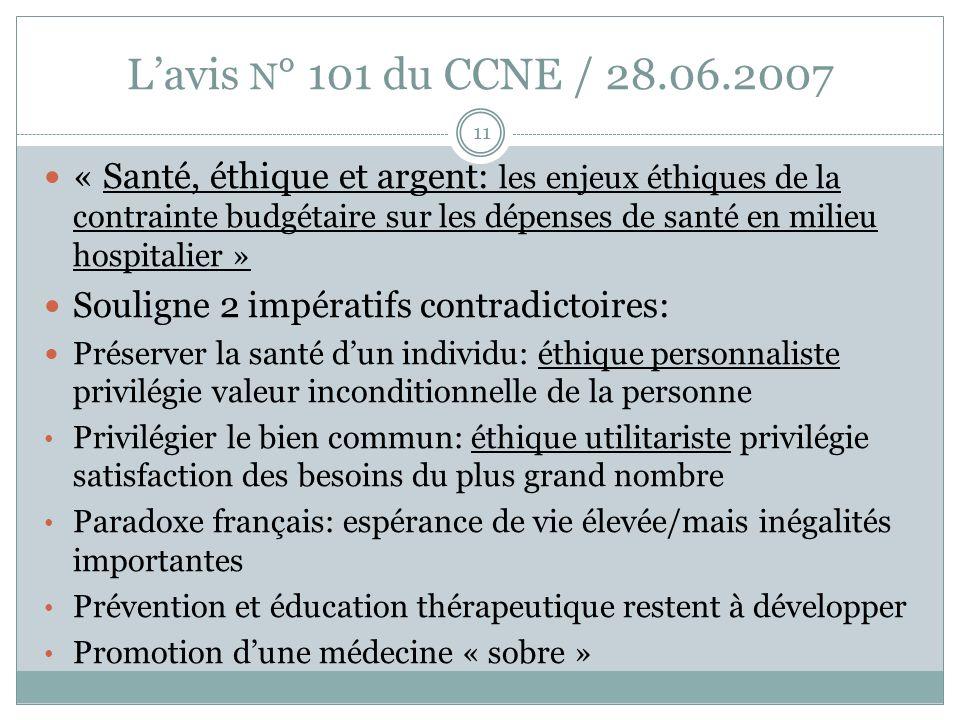 Lavis N ° 101 du CCNE / 28.06.2007 « Santé, éthique et argent: les enjeux éthiques de la contrainte budgétaire sur les dépenses de santé en milieu hos