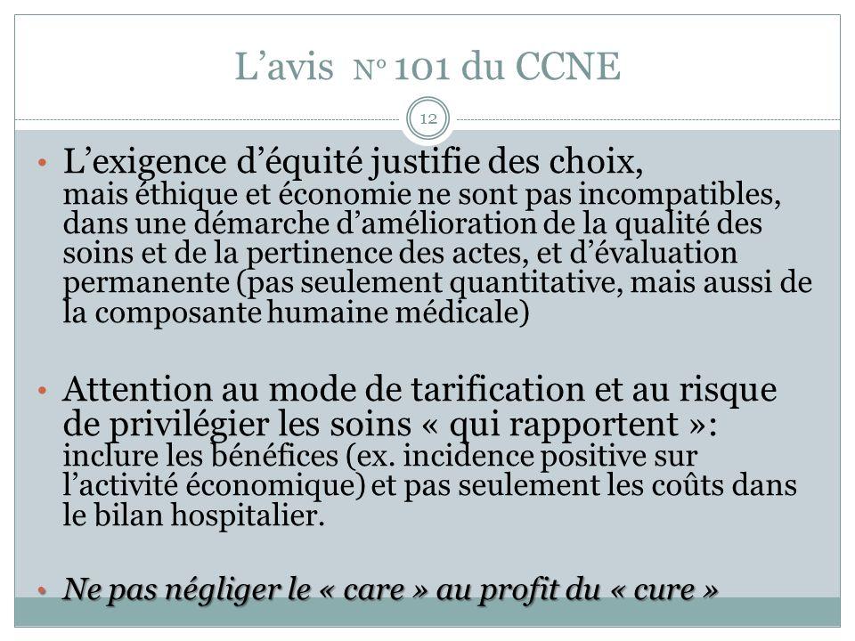 Lavis N° 101 du CCNE Lexigence déquité justifie des choix, mais éthique et économie ne sont pas incompatibles, dans une démarche damélioration de la q