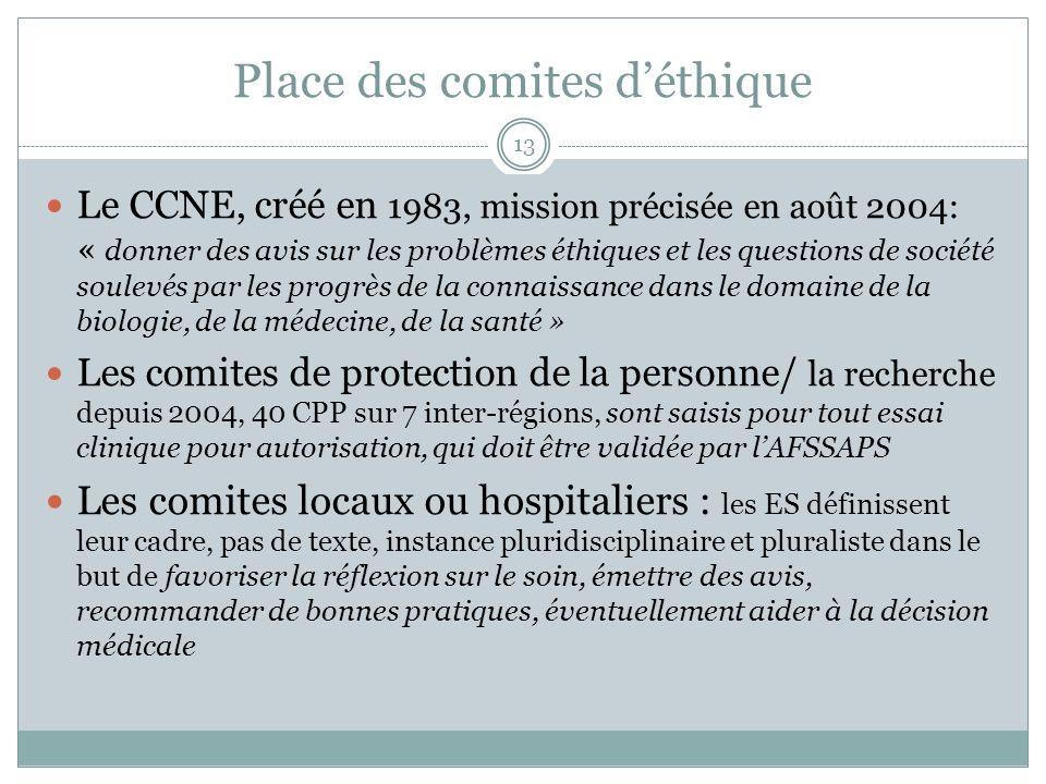 Place des comites déthique Le CCNE, créé en 1983, mission précisée en août 2004: « donner des avis sur les problèmes éthiques et les questions de soci