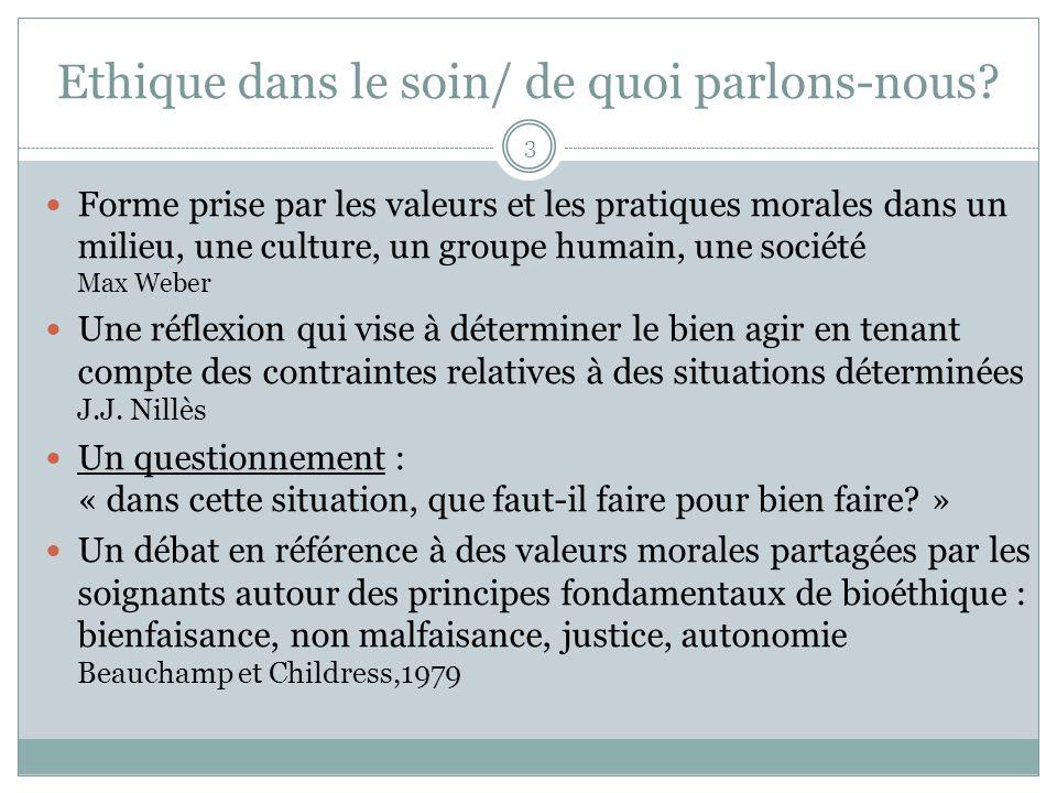 Ethique dans le soin/ de quoi parlons-nous? Forme prise par les valeurs et les pratiques morales dans un milieu, une culture, un groupe humain, une so