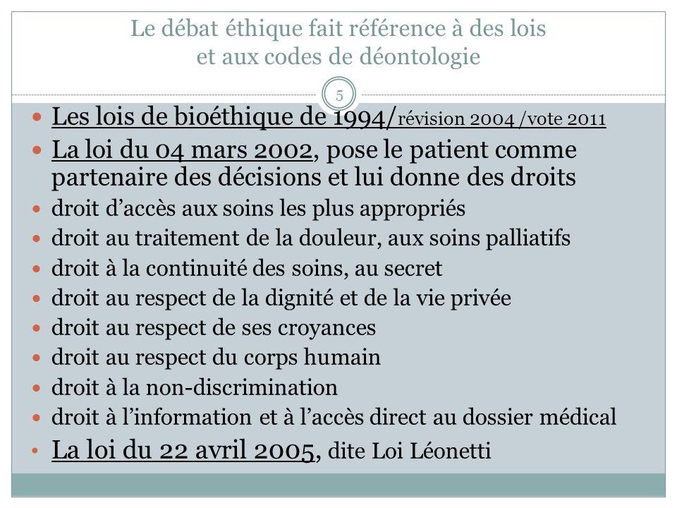 Le débat éthique fait référence à des lois et aux codes de déontologie Les lois de bioéthique de 1994/ révision 2004 /vote 2011 La loi du 04 mars 2002