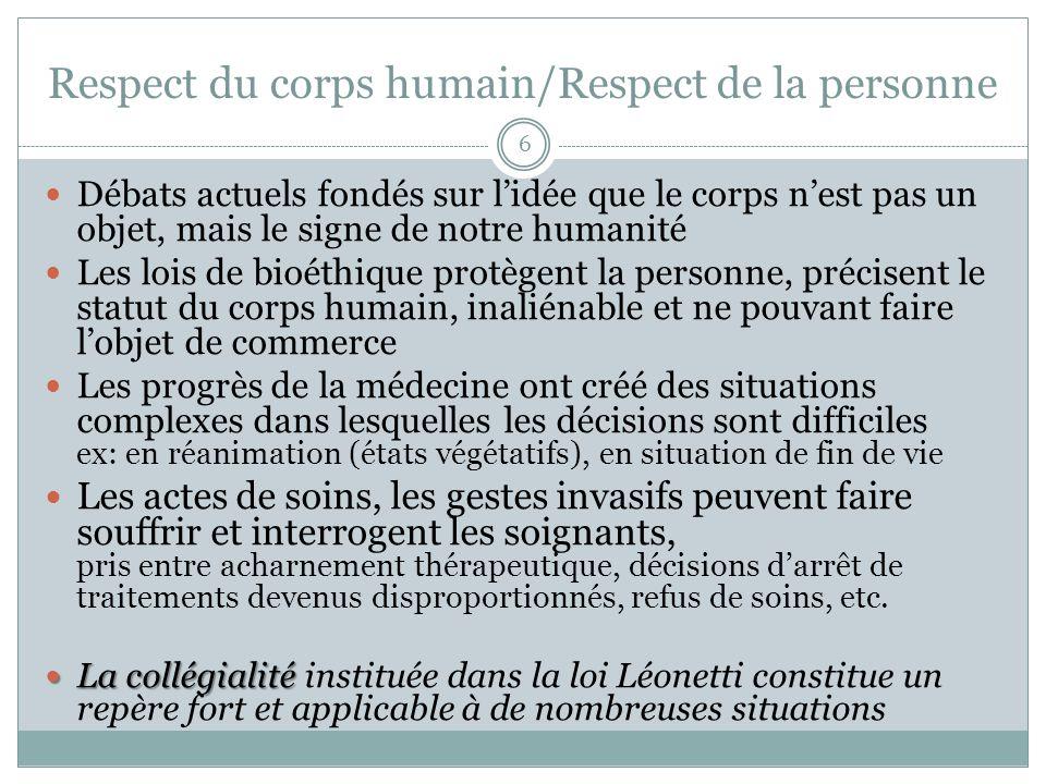 Respect du corps humain/Respect de la personne Débats actuels fondés sur lidée que le corps nest pas un objet, mais le signe de notre humanité Les loi