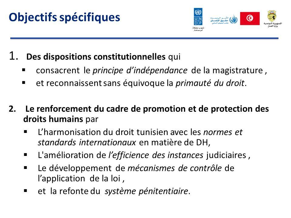 Objectifs spécifiques 1. Des dispositions constitutionnelles qui consacrent le principe dindépendance de la magistrature, et reconnaissent sans équivo