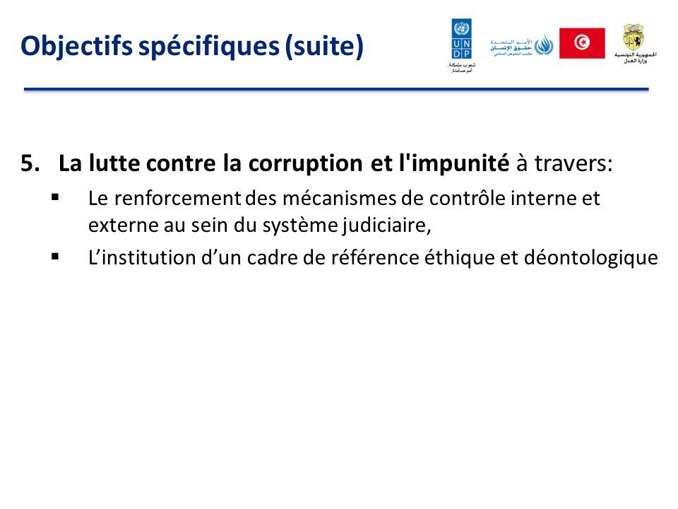 Objectifs spécifiques (suite) 5.La lutte contre la corruption et l'impunité à travers: Le renforcement des mécanismes de contrôle interne et externe a