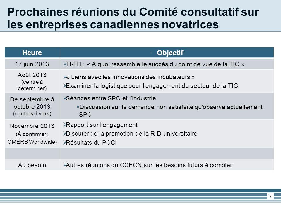 Prochaines réunions du Comité consultatif sur les entreprises canadiennes novatrices HeureObjectif 17 juin 2013 TRITI : « À quoi ressemble le succès du point de vue de la TIC » Août 2013 (centre à déterminer) « Liens avec les innovations des incubateurs » Examiner la logistique pour l engagement du secteur de la TIC De septembre à octobre 2013 (centres divers) Séances entre SPC et l industrie Discussion sur la demande non satisfaite qu observe actuellement SPC Novembre 2013 (À confirmer : OMERS Worldwide) Rapport sur l engagement Discuter de la promotion de la R-D universitaire Résultats du PCCI Au besoin Autres réunions du CCECN sur les besoins futurs à combler 5