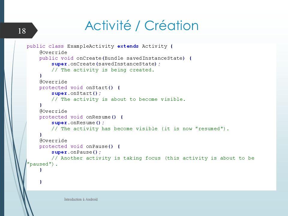 Activité / Création Introduction à Android 18