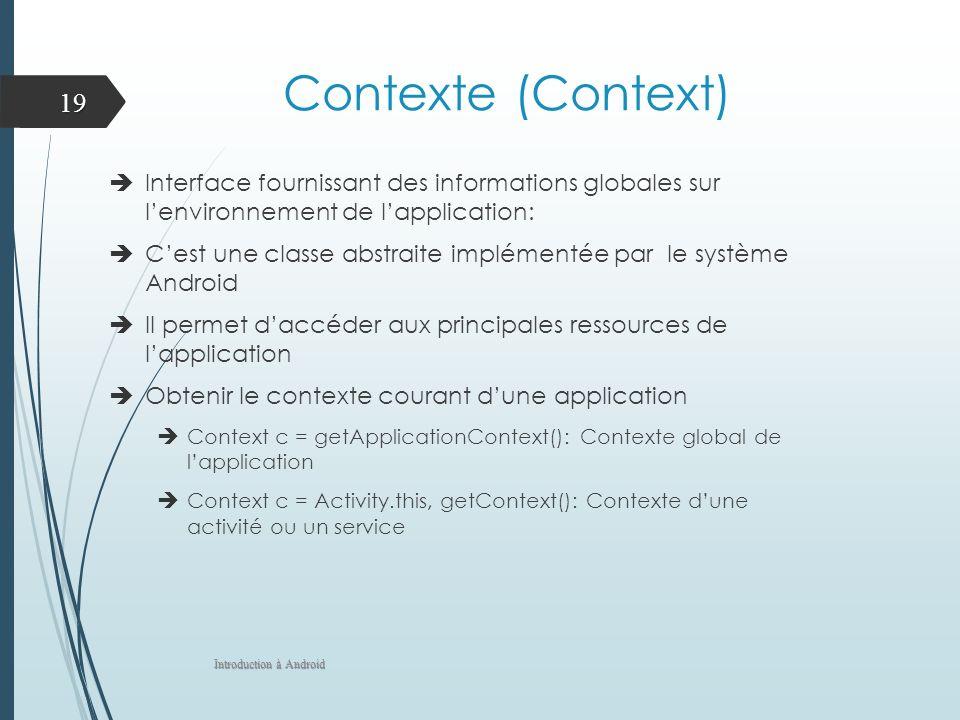 Contexte (Context) Interface fournissant des informations globales sur lenvironnement de lapplication: Cest une classe abstraite implémentée par le sy