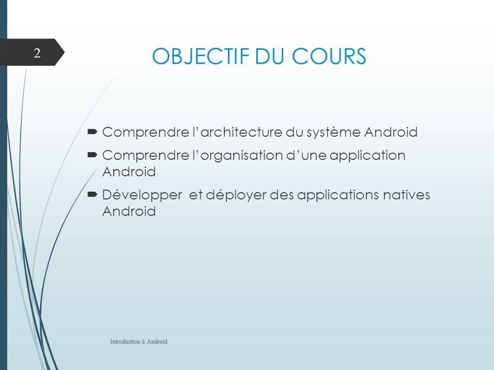 OBJECTIF DU COURS Comprendre larchitecture du système Android Comprendre lorganisation dune application Android Développer et déployer des applications natives Android Introduction à Android 2