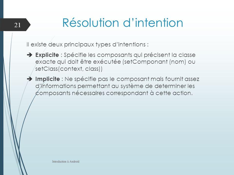 Résolution dintention Il existe deux principaux types dintentions : Explicite : Spécifie les composants qui précisent la classe exacte qui doit être exécutée (setComponant (nom) ou setClass(context, class)) Implicite : Ne spécifie pas le composant mais fournit assez dinformations permettant au système de determiner les composants nécessaires correspondant à cette action.