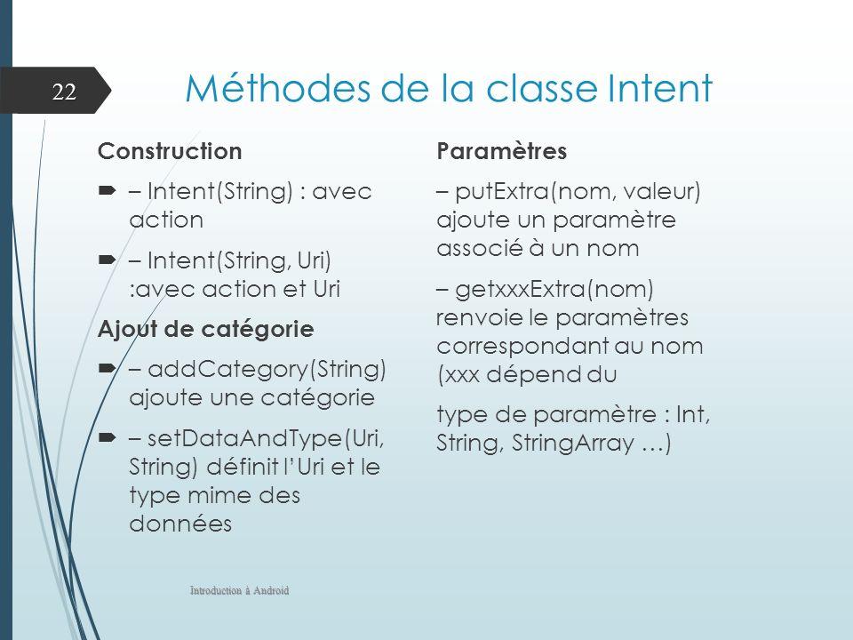 Méthodes de la classe Intent Construction – Intent(String) : avec action – Intent(String, Uri) :avec action et Uri Ajout de catégorie – addCategory(String) ajoute une catégorie – setDataAndType(Uri, String) définit lUri et le type mime des données Paramètres – putExtra(nom, valeur) ajoute un paramètre associé à un nom – getxxxExtra(nom) renvoie le paramètres correspondant au nom (xxx dépend du type de paramètre : Int, String, StringArray …) Introduction à Android 22