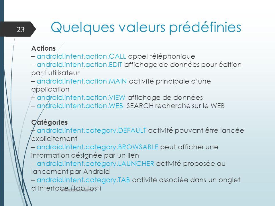 Quelques valeurs prédéfinies Actions – android.intent.action.CALL appel téléphonique – android.intent.action.EDIT affichage de données pour édition pa