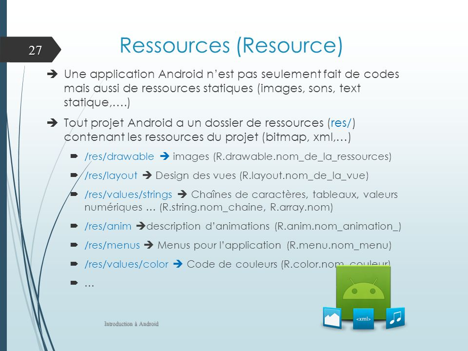 Ressources (Resource) Une application Android nest pas seulement fait de codes mais aussi de ressources statiques (images, sons, text statique,….) Tout projet Android a un dossier de ressources (res/) contenant les ressources du projet (bitmap, xml,…) /res/drawable images (R.drawable.nom_de_la_ressources) /res/layout Design des vues (R.layout.nom_de_la_vue) /res/values/strings Chaînes de caractères, tableaux, valeurs numériques … (R.string.nom_chaine, R.array.nom) /res/anim description danimations (R.anim.nom_animation_) /res/menus Menus pour lapplication (R.menu.nom_menu) /res/values/color Code de couleurs (R.color.nom_couleur) … Introduction à Android 27