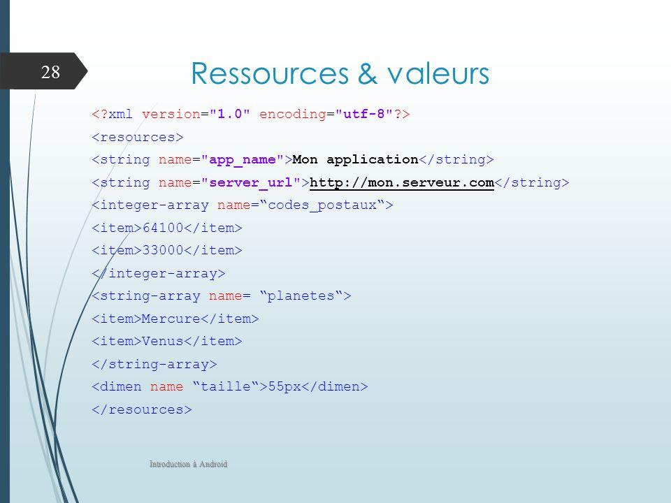 Ressources & valeurs Mon application http://mon.serveur.com 64100 33000 Mercure Venus 55px Introduction à Android 28