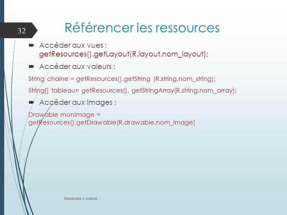 Référencer les ressources Accéder aux vues : getResources().getLayout(R.layout.nom_layout); Accéder aux valeurs : String chaine = getResources().getString (R.string.nom_string); String[] tableau= getResources().