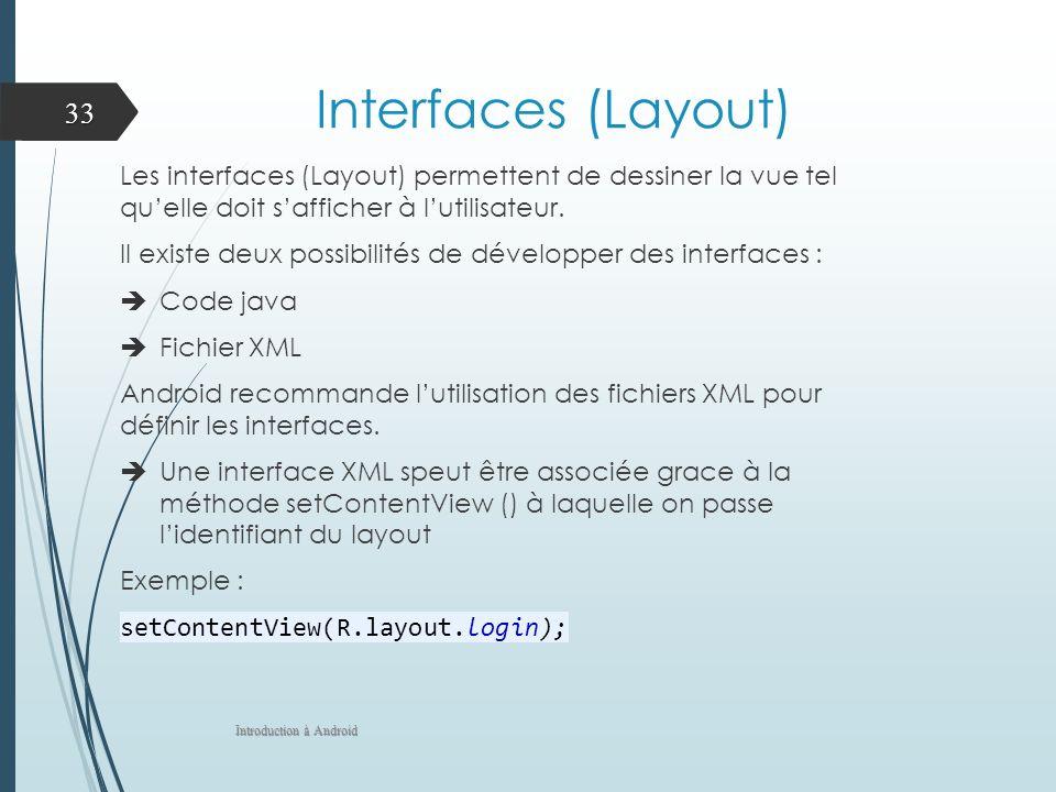 Interfaces (Layout) Les interfaces (Layout) permettent de dessiner la vue tel quelle doit safficher à lutilisateur. Il existe deux possibilités de dév