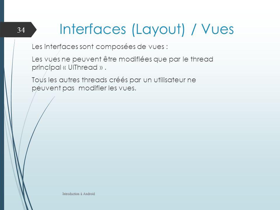 Interfaces (Layout) / Vues Les interfaces sont composées de vues : Les vues ne peuvent être modifiées que par le thread principal « UIThread ». Tous l