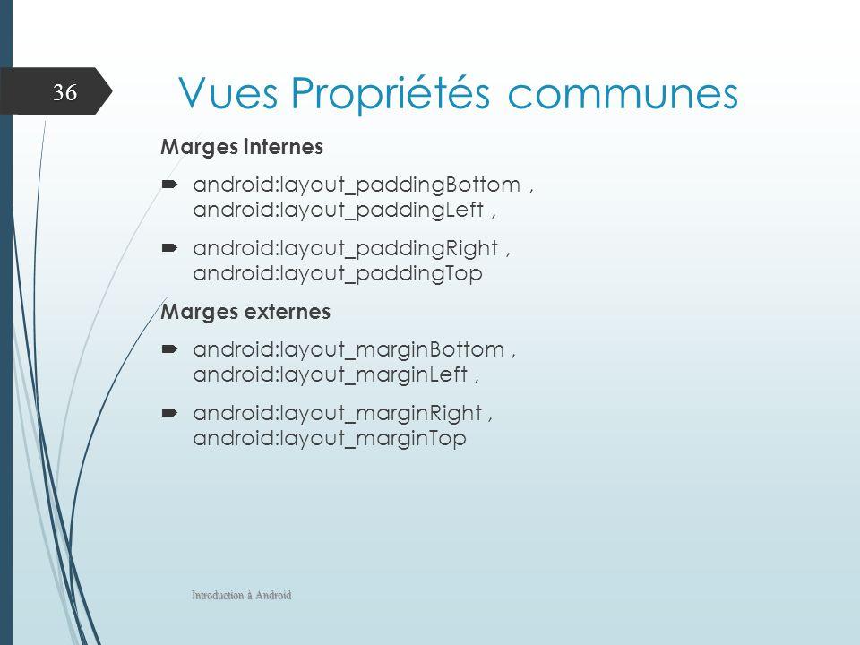 Vues Propriétés communes Marges internes android:layout_paddingBottom, android:layout_paddingLeft, android:layout_paddingRight, android:layout_padding
