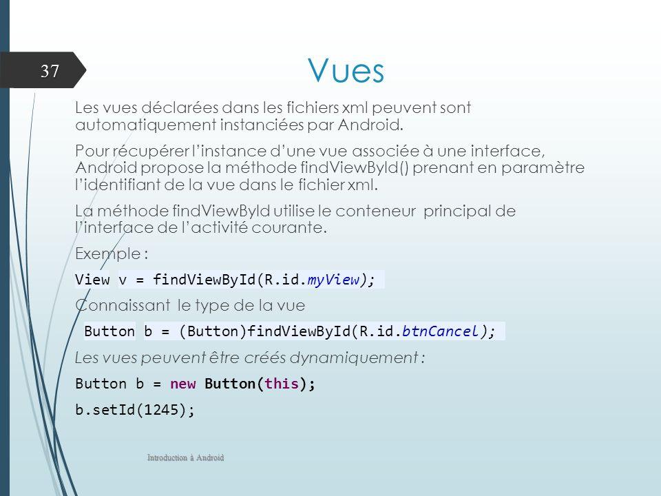 Vues Les vues déclarées dans les fichiers xml peuvent sont automatiquement instanciées par Android. Pour récupérer linstance dune vue associée à une i