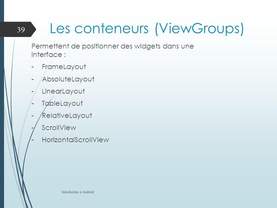 Les conteneurs (ViewGroups) Permettent de positionner des widgets dans une interface : -FrameLayout -AbsoluteLayout -LinearLayout -TableLayout -Relati