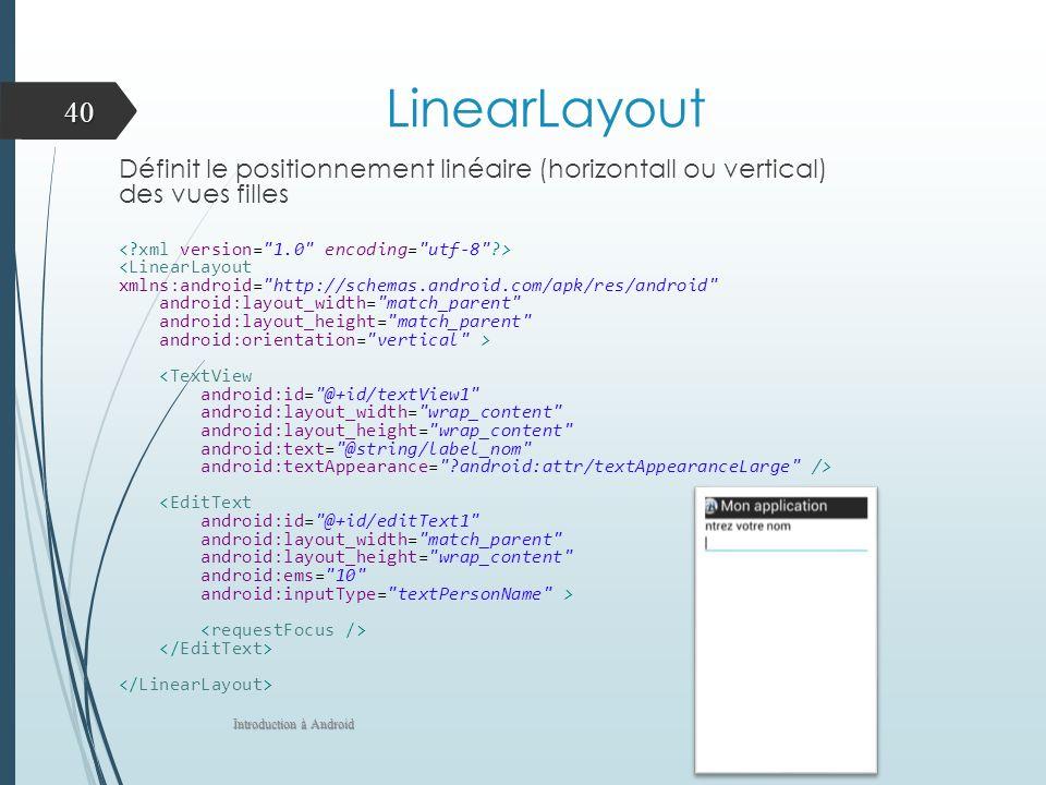 LinearLayout Définit le positionnement linéaire (horizontall ou vertical) des vues filles <LinearLayout xmlns:android=