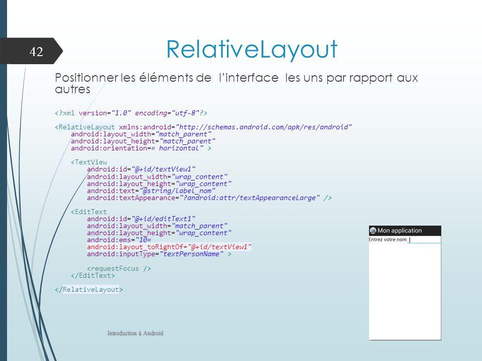 RelativeLayout Positionner les éléments de linterface les uns par rapport aux autres <RelativeLayout xmlns:android=