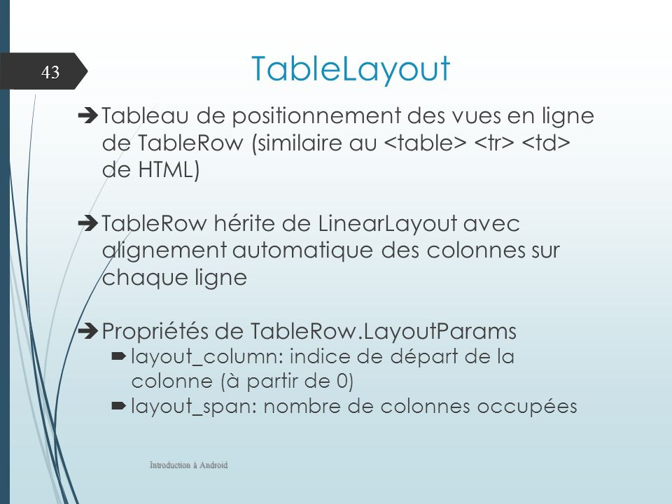 TableLayout Tableau de positionnement des vues en ligne de TableRow (similaire au de HTML) TableRow hérite de LinearLayout avec alignement automatique des colonnes sur chaque ligne Propriétés de TableRow.LayoutParams layout_column: indice de départ de la colonne (à partir de 0) layout_span: nombre de colonnes occupées Introduction à Android 43