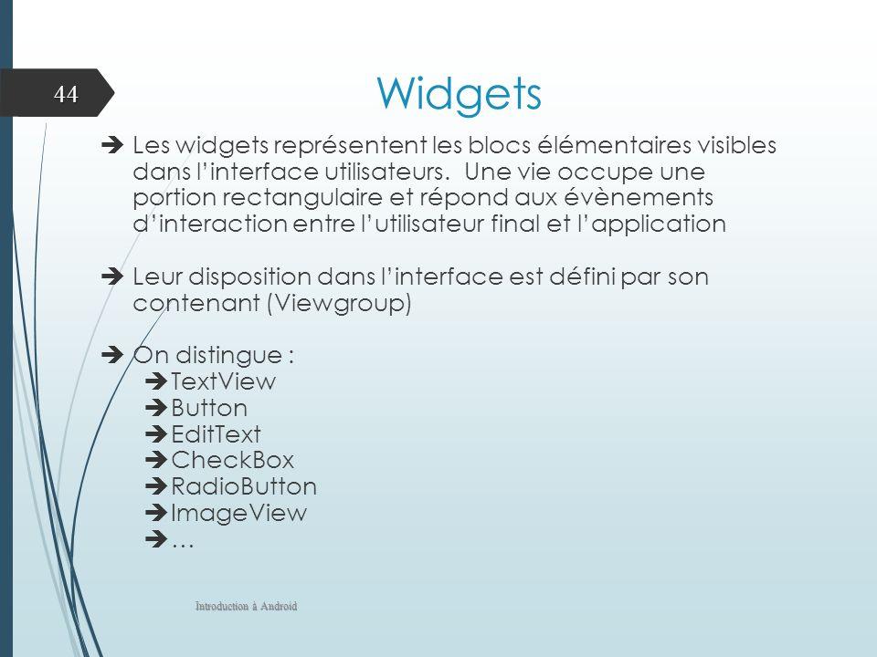 Widgets Les widgets représentent les blocs élémentaires visibles dans linterface utilisateurs. Une vie occupe une portion rectangulaire et répond aux