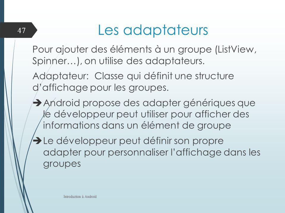 Les adaptateurs Pour ajouter des éléments à un groupe (ListView, Spinner…), on utilise des adaptateurs. Adaptateur: Classe qui définit une structure d