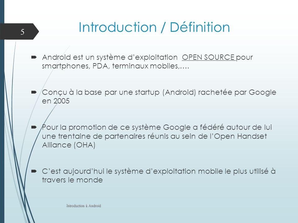Introduction / Définition Android est un système dexploitation OPEN SOURCE pour smartphones, PDA, terminaux mobiles,…. Conçu à la base par une startup
