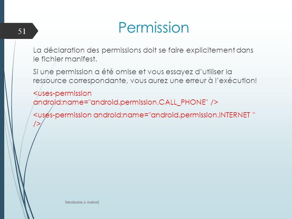 Permission La déclaration des permissions doit se faire explicitement dans le fichier manifest. Si une permission a été omise et vous essayez dutilise