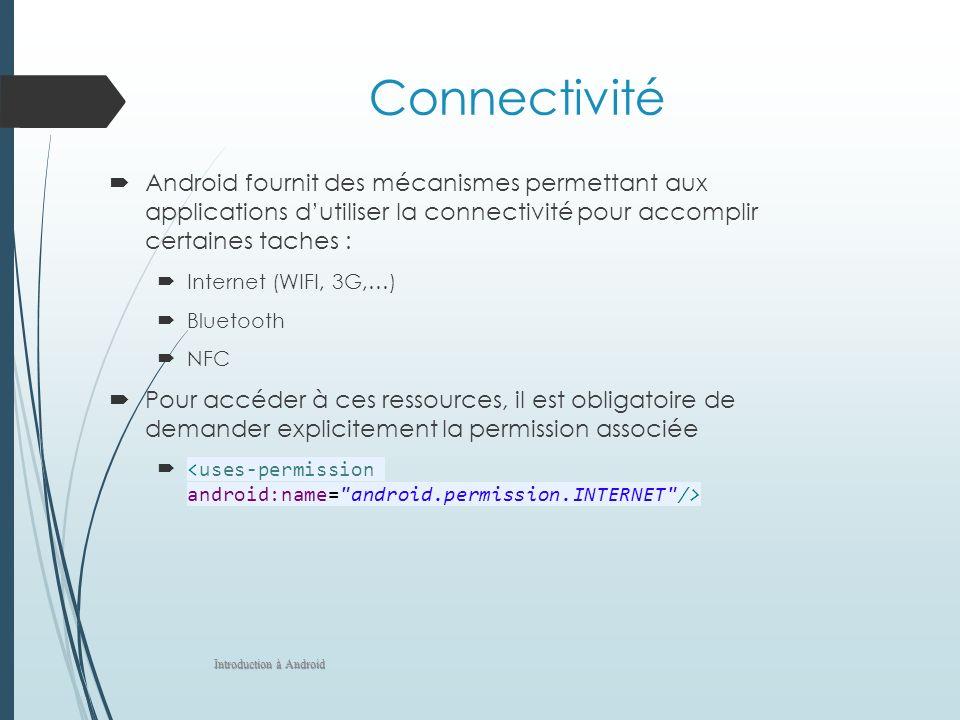Connectivité Android fournit des mécanismes permettant aux applications dutiliser la connectivité pour accomplir certaines taches : Internet (WIFI, 3G,…) Bluetooth NFC Pour accéder à ces ressources, il est obligatoire de demander explicitement la permission associée Introduction à Android