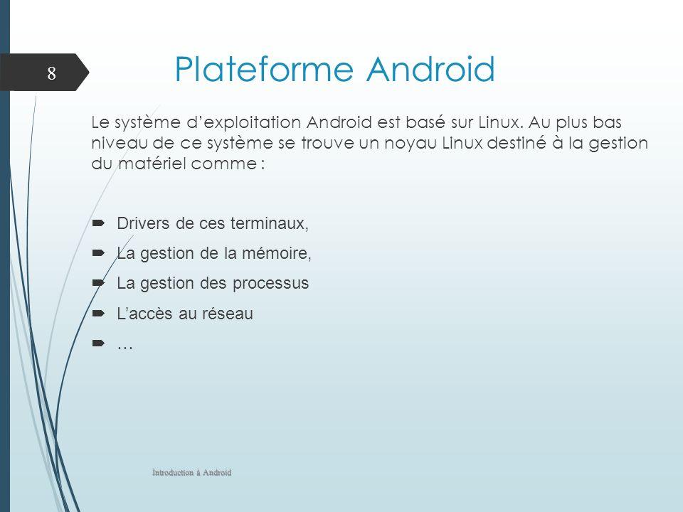 Plateforme Android Le système dexploitation Android est basé sur Linux. Au plus bas niveau de ce système se trouve un noyau Linux destiné à la gestion