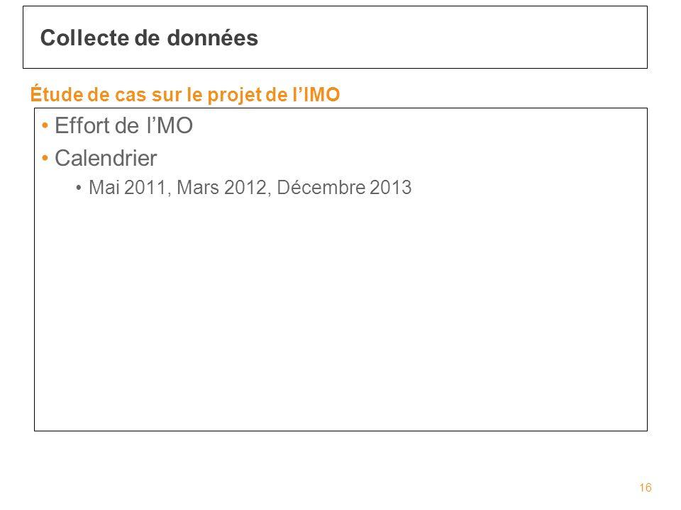 Effort de lMO Calendrier Mai 2011, Mars 2012, Décembre 2013 Collecte de données 16 Étude de cas sur le projet de lIMO