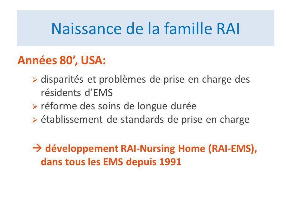 Naissance de la famille RAI Années 80, USA: disparités et problèmes de prise en charge des résidents dEMS réforme des soins de longue durée établissement de standards de prise en charge développement RAI-Nursing Home (RAI-EMS), dans tous les EMS depuis 1991