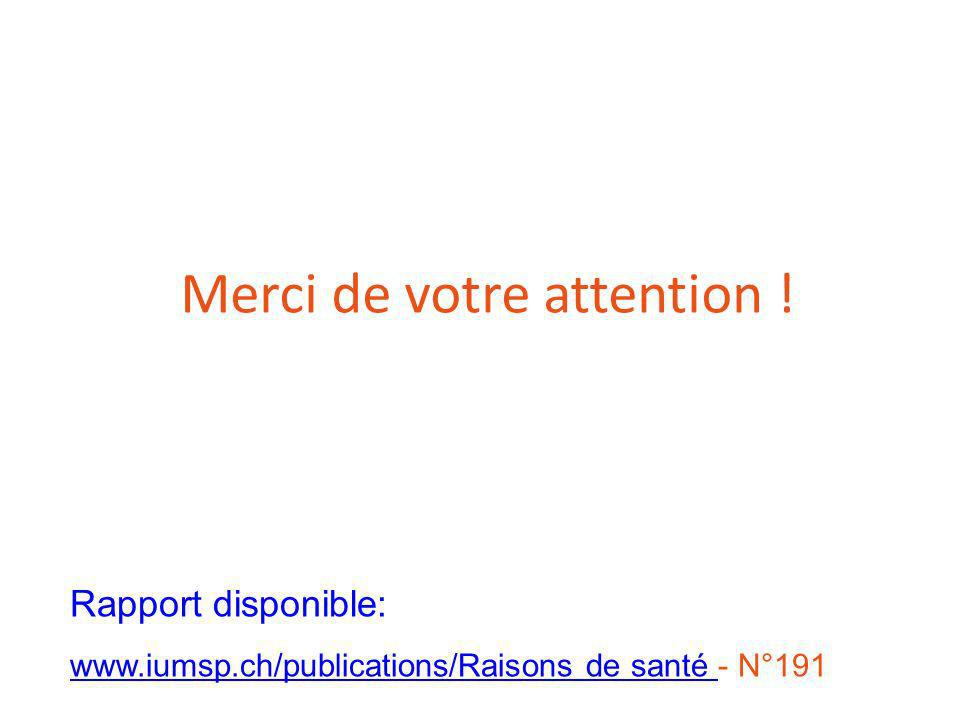Merci de votre attention ! Rapport disponible: www.iumsp.ch/publications/Raisons de santé - N°191 www.iumsp.ch/publications/Raisons de santé