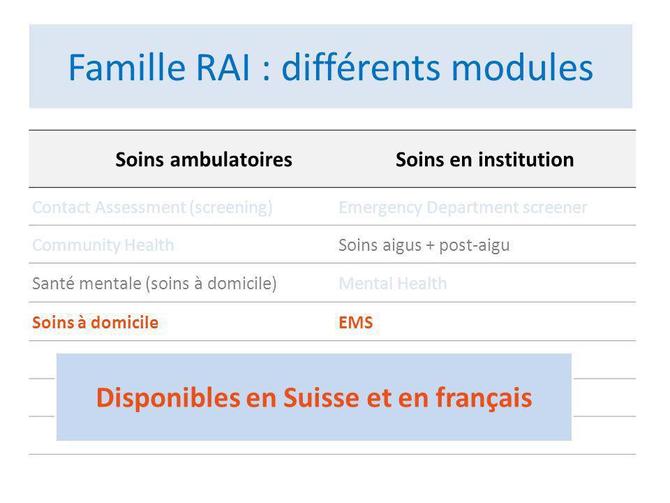 a : versions suisses romandes b : version interRAI Acute Care 2006 Famille RAI: noyau commun dinformations .