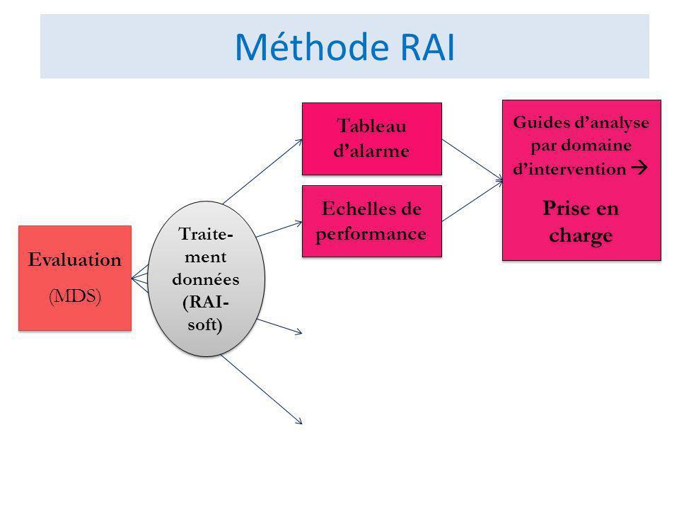 Méthode RAI Echelles de performance Tableau dalarme Guides danalyse par domaine dintervention Prise en charge Guides danalyse par domaine dintervention Prise en charge Evaluation (MDS) Evaluation (MDS) Traite- ment données (RAI- soft) Traite- ment données (RAI- soft)