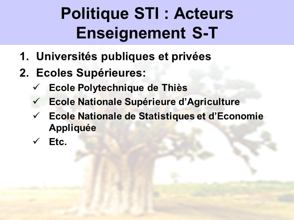 Politique STI : Acteurs Enseignement S-T 1.Universités publiques et privées 2.Ecoles Supérieures: Ecole Polytechnique de Thiès Ecole Nationale Supérie