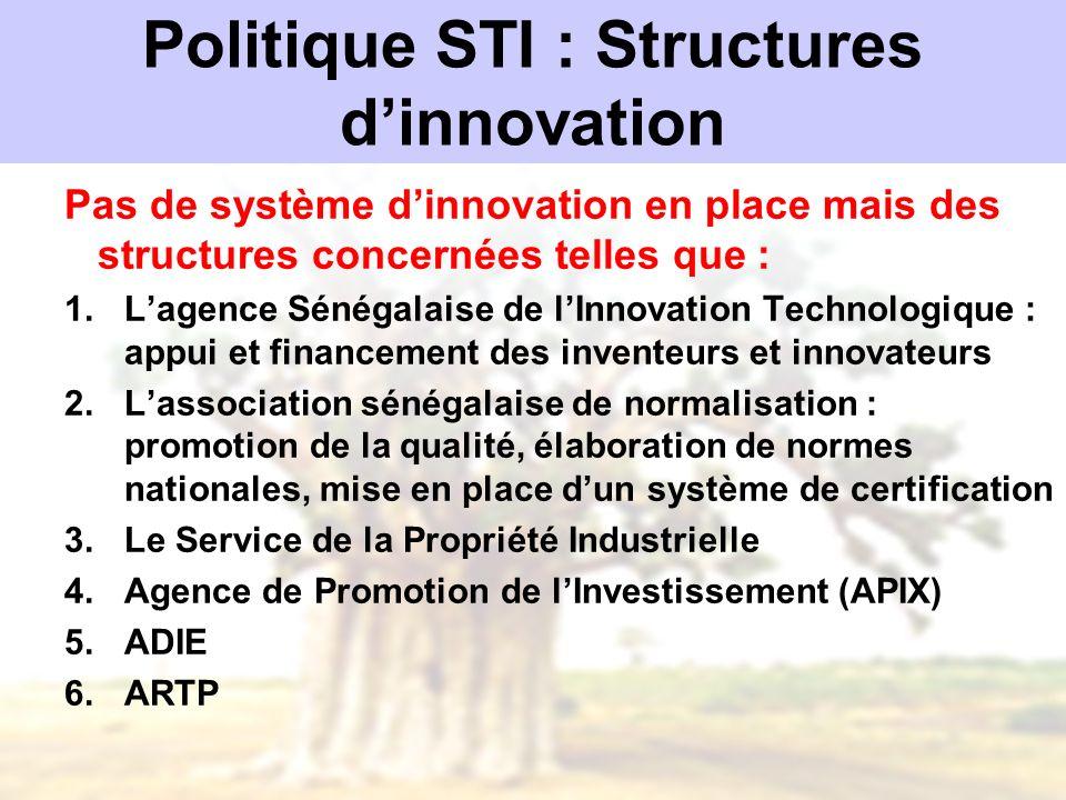 Politique STI : Structures dinnovation Pas de système dinnovation en place mais des structures concernées telles que : 1.Lagence Sénégalaise de lInnov