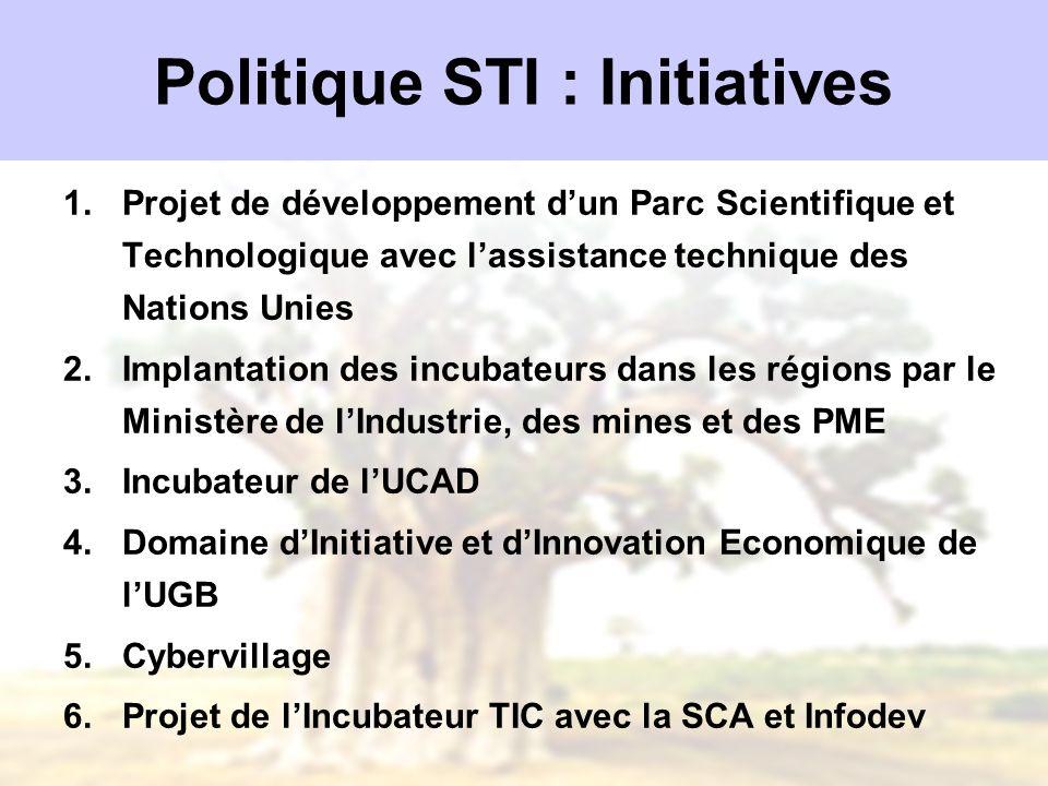 Politique STI : Initiatives 1.Projet de développement dun Parc Scientifique et Technologique avec lassistance technique des Nations Unies 2.Implantati