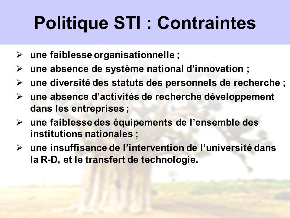 Politique STI : Contraintes une faiblesse organisationnelle ; une absence de système national dinnovation ; une diversité des statuts des personnels d
