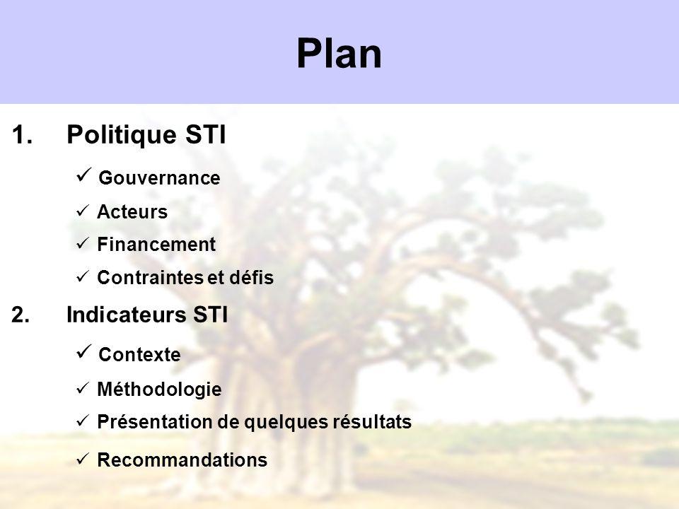 Plan 1.Politique STI Gouvernance Acteurs Financement Contraintes et défis 2.Indicateurs STI Contexte Méthodologie Présentation de quelques résultats R