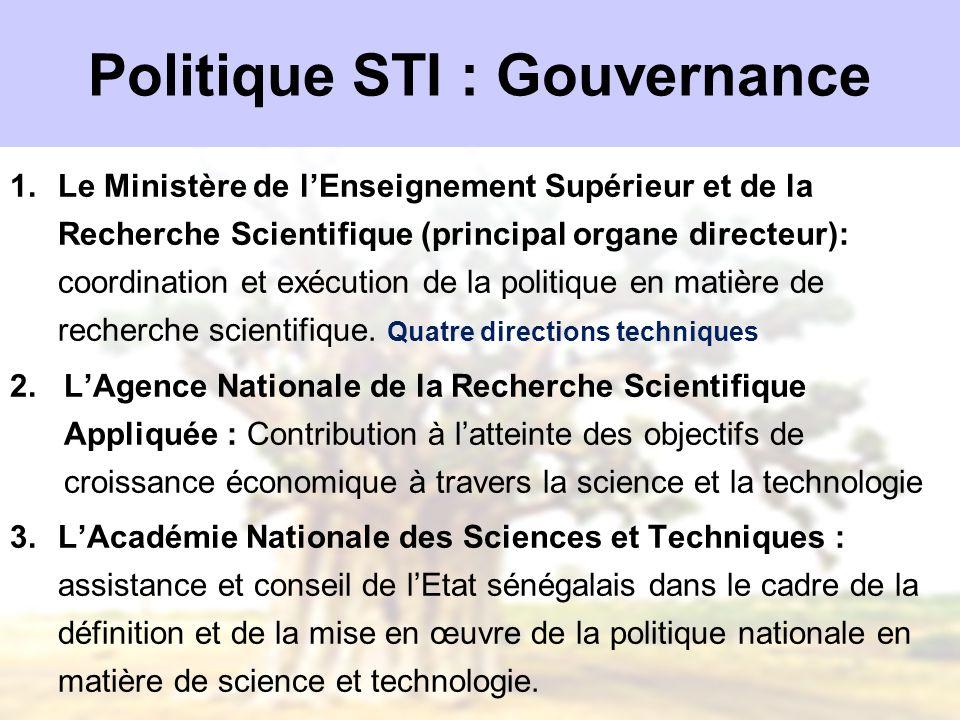 Politique STI : Gouvernance 1.Le Ministère de lEnseignement Supérieur et de la Recherche Scientifique (principal organe directeur): coordination et ex