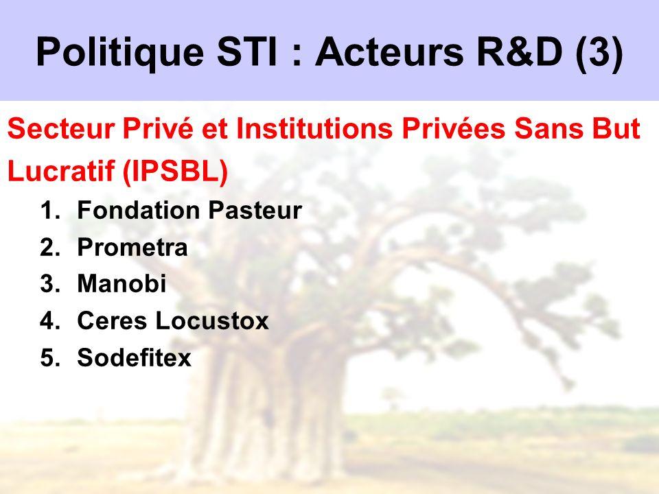 Politique STI : Acteurs R&D (3) Secteur Privé et Institutions Privées Sans But Lucratif (IPSBL) 1.Fondation Pasteur 2.Prometra 3.Manobi 4.Ceres Locust