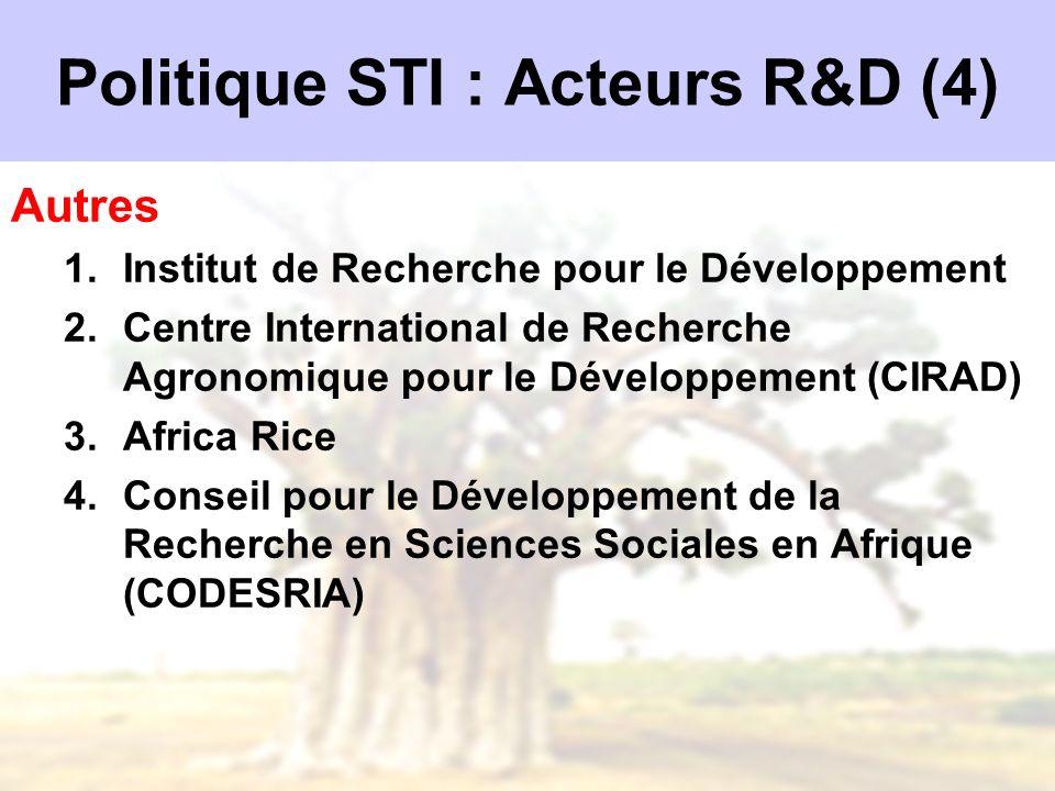 Politique STI : Acteurs R&D (4) Autres 1.Institut de Recherche pour le Développement 2.Centre International de Recherche Agronomique pour le Développe