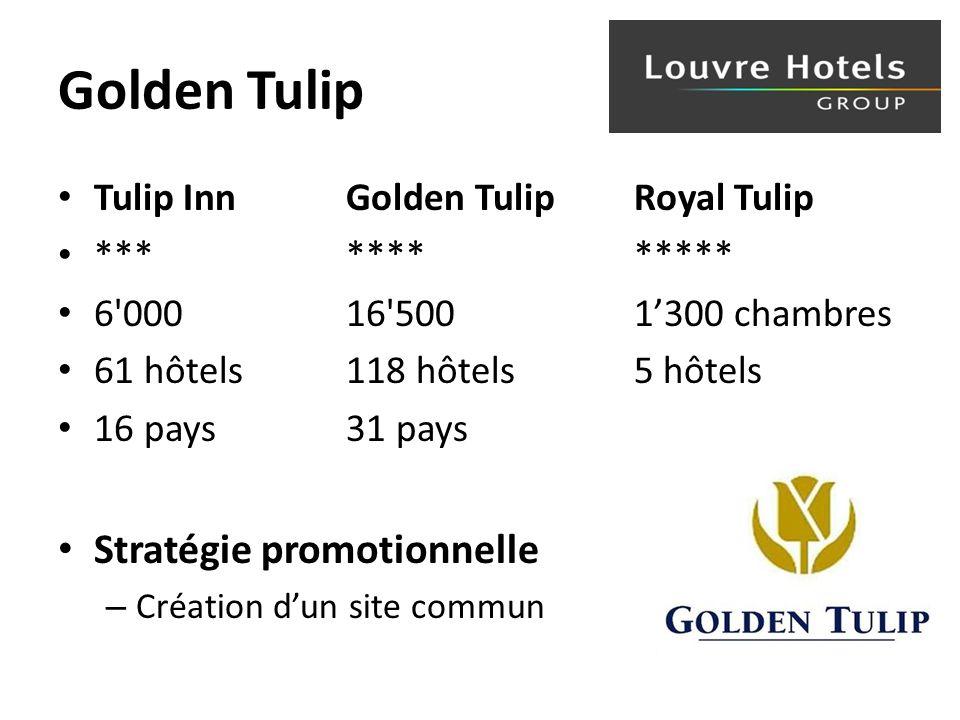 Golden Tulip Tulip InnGolden Tulip Royal Tulip ************ 6 000 16 500 1300 chambres 61 hôtels 118 hôtels 5 hôtels 16 pays31 pays Stratégie promotionnelle – Création dun site commun
