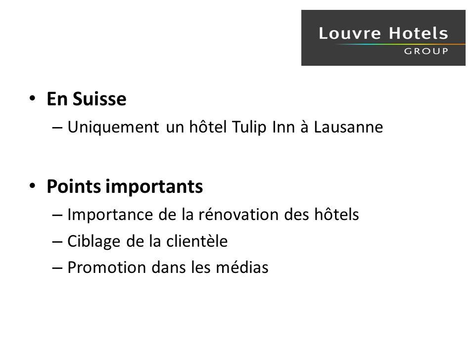 En Suisse – Uniquement un hôtel Tulip Inn à Lausanne Points importants – Importance de la rénovation des hôtels – Ciblage de la clientèle – Promotion dans les médias