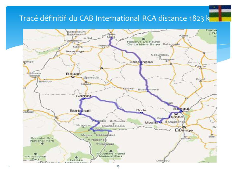 Tracé définitif du CAB International RCA distance 1823 km 115