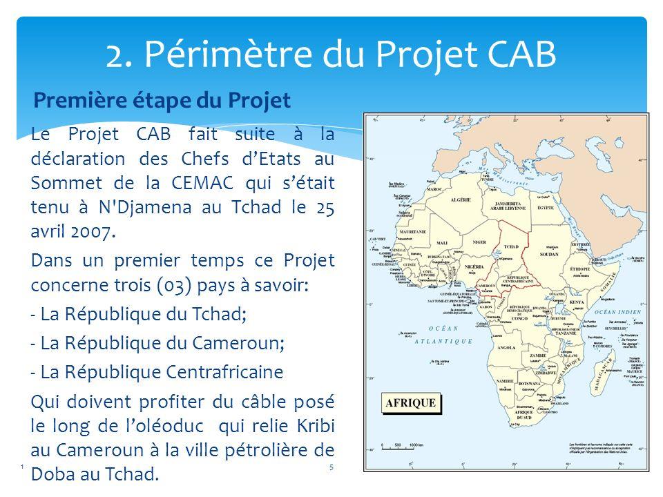2. Périmètre du Projet CAB Première étape du Projet Le Projet CAB fait suite à la déclaration des Chefs dEtats au Sommet de la CEMAC qui sétait tenu à
