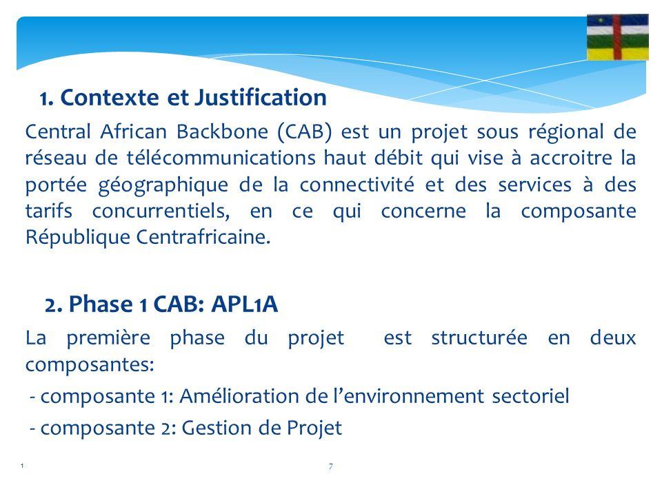 1. Contexte et Justification Central African Backbone (CAB) est un projet sous régional de réseau de télécommunications haut débit qui vise à accroitr
